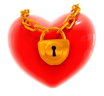 Red valentine's heart with closed gold lock